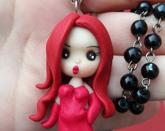 Jessica Rabbit necklace with pearls
