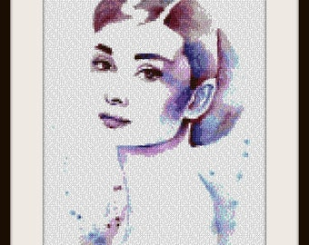 Audrey Hepburn - Artwork by Hannah Alexander - cross stitch pattern - cross stitch Audrey Hepburn - PDF pattern - instant download!