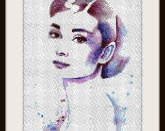 Audrey Hepburn - Artwork by Hannah Alexander - cross stitch pattern - PDF pattern - instant download!