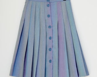 LADY BAGIR Israel Vintage Box Pleated Skirt, Front Buttons, Size 42 EUR
