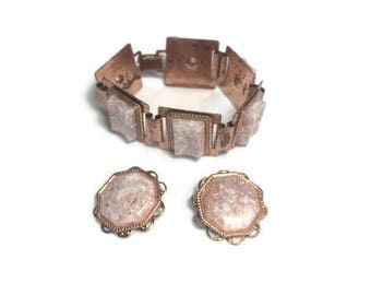 Copper and Confetti Lucite Jewelry Set, 1950s 1960s Bracelet and Earrings Set, Demi Parure, Costume Jewelry