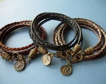 Leather Wrap Bracelet with Initial, Womens Leather Bracelet, Leather Bracelet, Initial, Double Wrap, Womens Jewelry, Leather Jewelry,