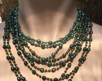 One Only * Stunning Green Multi Strand Authentic Vintage Necklace