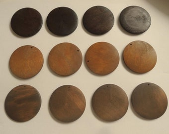 """10 Pcs 50mm(2"""")  Brown Flat Wooden  Discs Unfinished Wooden round Disks   (W140-2)"""