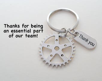Employee Appreciation Gift Keychain, Gear Charm Keychain, Employee Gift, Coworker Gift, Work Team Gift, Thank you Gift, Teacher Gift