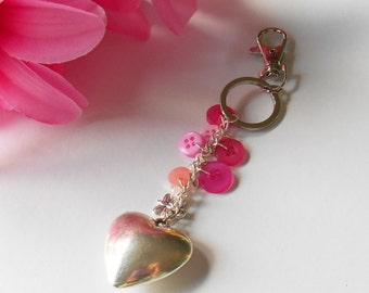 Love Keychain, Puffed Heart Handbag Charm, Gifts for Teenagers, Lover Token Present, Fashion Accessory, Secure Key Tidy