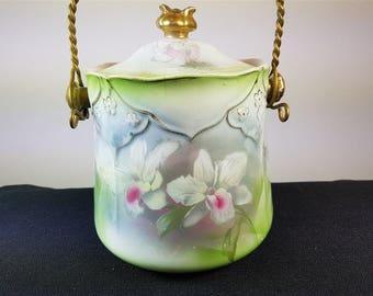 Antique Art Nouveau Burslem Ceramic Pottery Biscuit Barrel Jar  Early 1900's