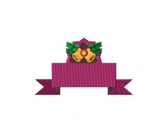 Christmas Purple Banner Machine Embroidery Design