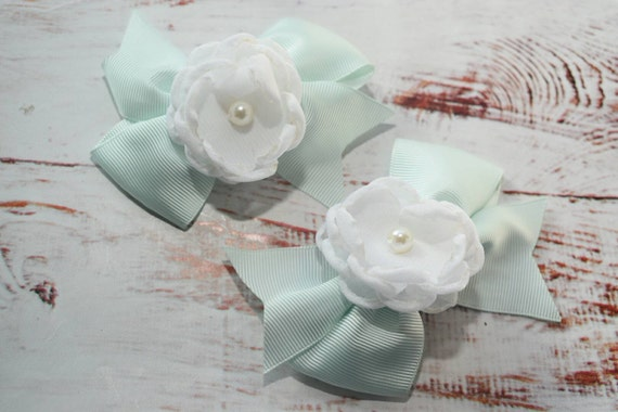 Pair of mint and white flower bow barrettes / hair clips / pigtail clips / pony tail clips / wedding bows / flowergirl bows / birthday bows