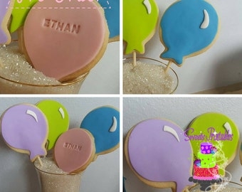 """Balloons Sugar Cookies Lollipops 2""""- 12 Sugar Cookies Decorated With Marshmallow Fondant-Party Favors"""