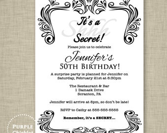 Black white invite | Etsy