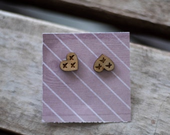 Hand painted wooden heart earring studs