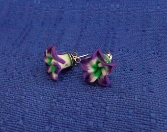Purple Hibiscus Flower Earrings,Purple Flower Stud Earrings,Plumeria Earrings