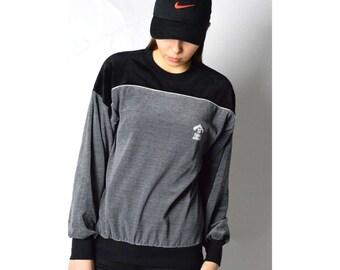 Vintage 90s Black Gray Color Block Velvety Sweatshirt 18_280217_G