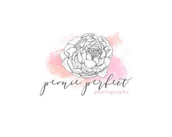 Watercolor Logo, watercolor design, photography, watermark, painted, Newborn photography logo, maternity logo, peony, floral, pink, pretty