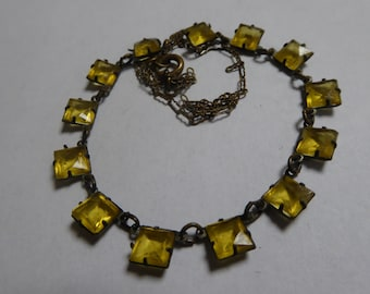 CZECH necklace, delicate brass chain, amber baguette glass stones