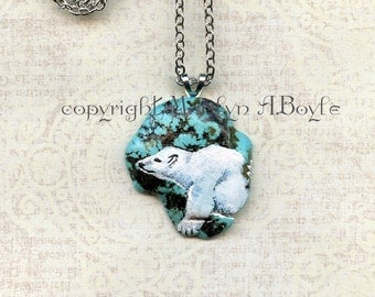 HAND PAINTED STONE; pendant,baby polar bear, jewelry, necklace, wearable art, nature, orignal art, 20 inch chain with 3 inch extender