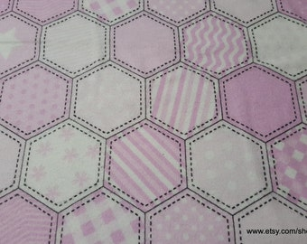 Flannel Fabric - Pink Quilt Pattern - By the yard - 100% Cotton Flannel