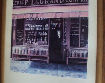 Lot of 3 paintings of old french shops.