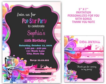 Pop Star party,  Pop Star Invitation,   Kareoke invitation, rock star party printable digital