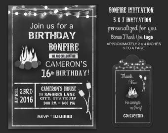Bonfire invitation, Backyard Bonfire invitation bonfire birthday party, bonfire party  chalk, black and white  personalized for you digital