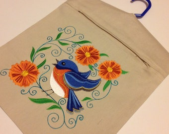 Clothes Pin Bag embroidered with Robin and flowers, embroidered peg bag