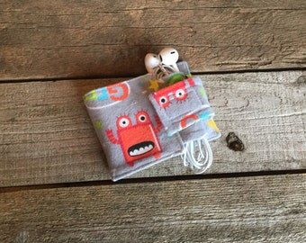 Wallet and Earbud Holder, monsters