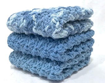 Cotton Crochet Washcloth Set - Bedtime Blues