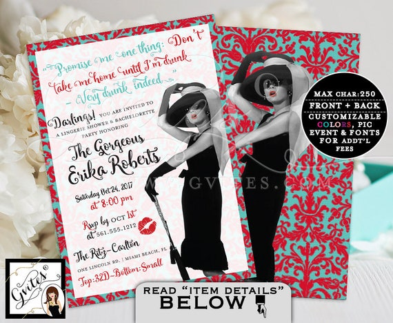 Lingerie Shower & Bachelorette Party - Audrey Hepburn PRINTABLE Custom invitations. Audrey quote invite and picture double sided 5x7, Gvites