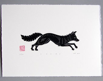 Fox Linocut Print // Handmade // Original // Limited Edition
