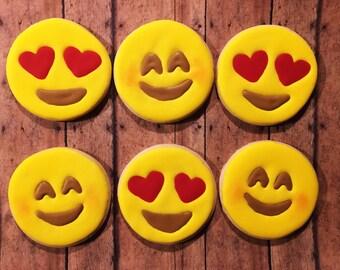"""12 Emoji valentines sugar cookies- 3"""""""