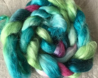 Kid mohair roving top 28, spinning and felting
