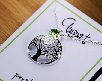 Tree of life, birthstone, 925 sterling silver, necklace, birthday, birthstone necklace, trendy, popular, gift for friend. Australian seller.