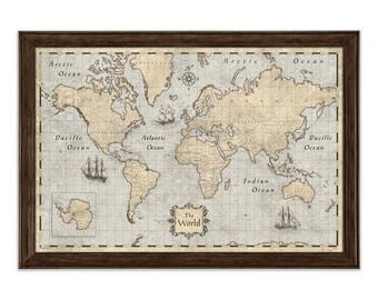 World Map Poster - Rustic Vintage Style Travel Map