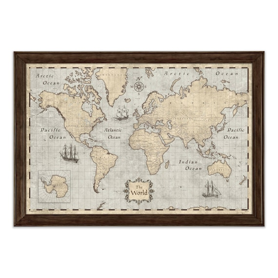 World Map Poster Rustic Vintage Style Travel Map - World map poster vintage style