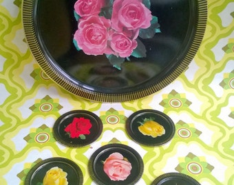 vintage kitsch serving tray with matching coasters, floral design