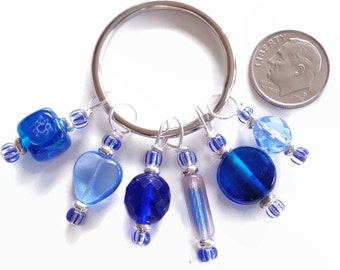 Stitch Marker Glass Bead Stitch Markers Blue Stitch Markers Shawls cowls scarves sweaters mittens knitting