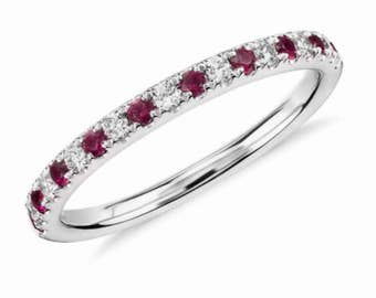 Alternating Ruby and Diamond Half Eternity Pave Band 18K White Gold Half Eternity Ring 1.6mm Diamond Ruby Matching Band Wedding Anniversary