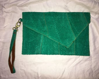 Salmon Leather Clutch- Teal