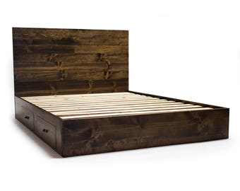 platform bed frame with drawers and headboard set modern rustic - Solid Wood Bed Frame
