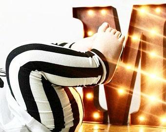 Monochrome Stripe,Baby Leggings, Toddler Leggings, Girls Leggings, Boys Leggings, Kids Leggings, Handmade Leggings, Black and White Leggings