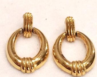 Vintage Gold Toned Oval Gold Drop Earrings Studs Pierced