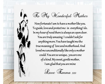 Wonderful Mother Poem Ceramic Plaque. Mum Thank You Gift. Personalised. Birthday, Christmas, Wedding, Mother's Day