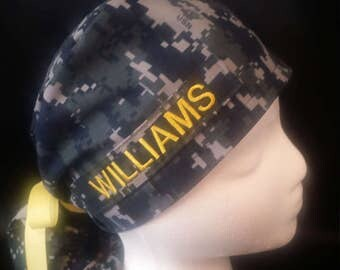 US Navy NWU Camo Ponytail Bow Tie Surgical Scrub Hat - With a Smaller Ponytail Pocket
