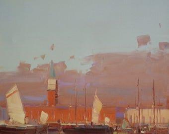 Venice Harbor, Original Oil painting, Impressionism, handmade art, One of a kind