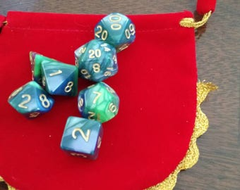 Jade and Gold 7 Die Polyhedral Set with Pouch