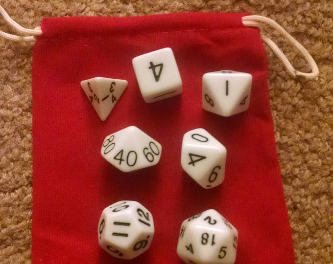 Snow White - 7 Die Polyhedral Set with Pouch