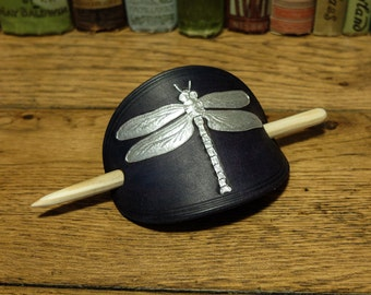 Leather barrette, hair barrette, dragonfly barrette, droganfly hair clip, hair clip, leather hair barrette, handmade barrette, dragonfly