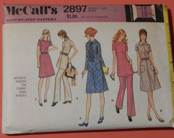 Vintage dress pattern McCall's 2897 Dress or tunic and pants pattern Size 14