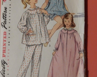 Simplicity 1828 Vintage 1950's nightgown and pajama pattern Girls size 10